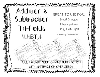 Addition & Subtraction Tri-Fold (4.NBT.4)