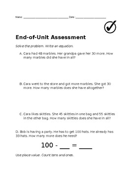 Addition/Subtraction Unit Assessment (Word Problems and Application)