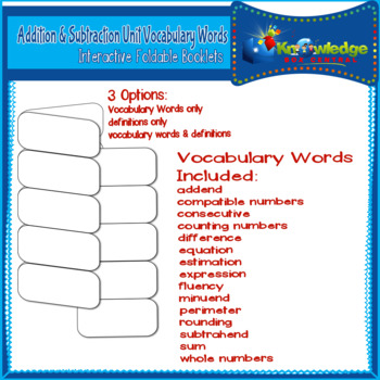Addition & Subtraction Unit Vocab. Words Interactive Foldable Booklets 3rd Grade