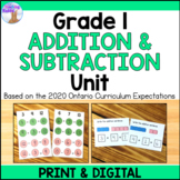 Addition & Subtraction Unit for Grade 1 (Ontario Curriculum)