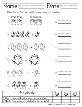 Addition & Subtraction Using Common Core Standards