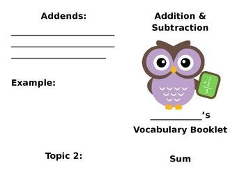 Addition & Subtraction Vocab Booklet