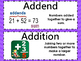 Addition & Subtraction Vocabulary Word Wall Card STAAR TEK