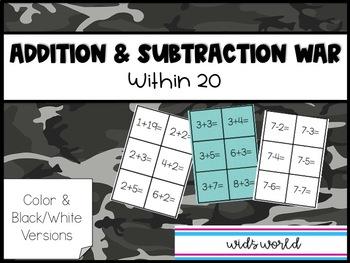 Addition & Subtraction War Card Game / Fluency Practice