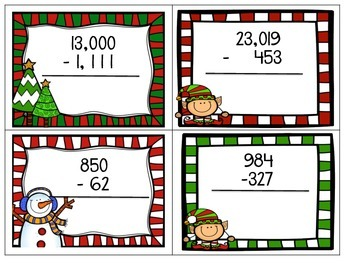 Addition & Subtraction Winter Flashcards