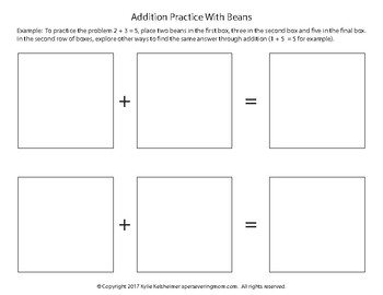 Addition & Subtraction With Beans Simple Worksheets