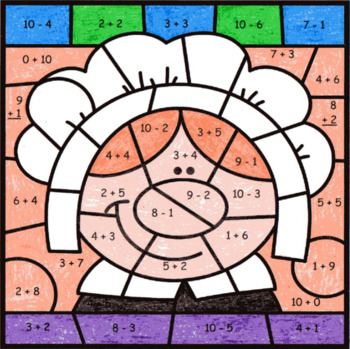 Addition & Subtraction Within 10 ~ Color by Code ~ Pilgrim Girl