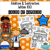 Addition & Subtraction Within 100 Color By Number {Community Themed}