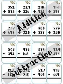 Addition Subtraction Within 1000 Task Cards