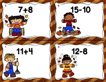 Addition & Subtraction Within 20 Task Cards {1st Grade & 2nd Grade} - Fall