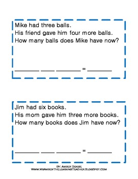 Addition & Subtraction Word Problem Cards (Within 10)!