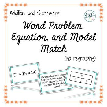 Addition&Subtraction Word Problem, Equation, & Model Match Cards (no regrouping)