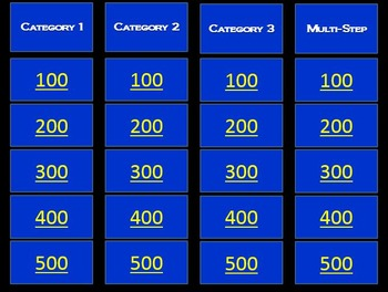 Addition & Subtraction Word Problem Jeopardy