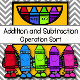 Addition Subtraction Word Problem Operation Sort