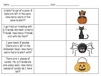 Addition & Subtraction Word Problem Scavenger Hunt for 1st Grade 1.OA.A.1