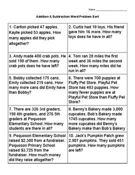 Addition & Subtraction Word Problem Sort