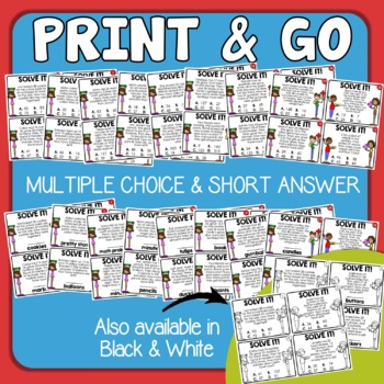 Addition and Subtraction Word Problems Math Story Problem Task Cards