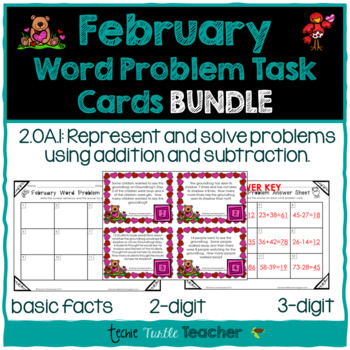 Addition & Subtraction Word Problem Task Cards Bundle - February Edition