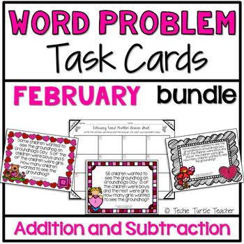 Addition & Subtraction Word Problem Task Cards Bundle - Fe