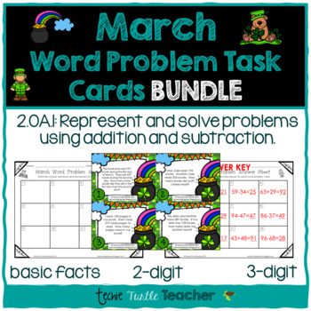 Addition & Subtraction Word Problem Task Cards Bundle - March Edition
