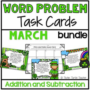 Addition & Subtraction Word Problem Task Cards Bundle - Ma