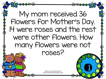 Addition & Subtraction Word Problem Task Cards Bundle - May Edition
