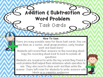 Addition & Subtraction Word Problem Task Cards: Common Core Aligned