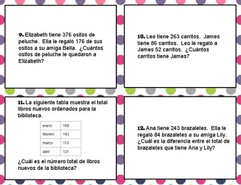 Addition and Subtraction Word Problems--TEKS 3.4A--Dual Language--Spanish