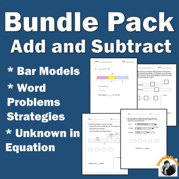 Addition Subtraction Word Problems (Bar Models) Bundle Pack 1st ...