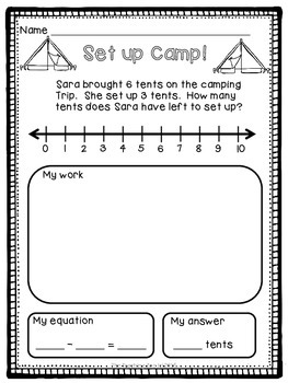 Addition & Subtraction Word Problems (Camping Theme)