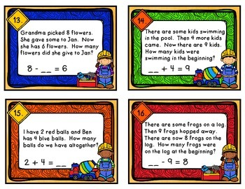 Addition & Subtraction Word Problems {Differentiated Task Cards}
