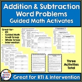 Addition & Subtraction Word Problems Guided Math Activities TEKS 3.4A