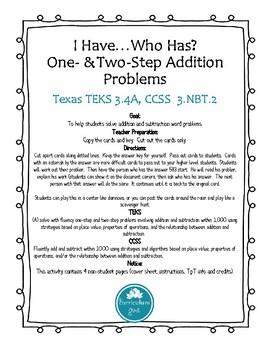 Addition & Subtraction Word Problems I Have...Who Has (TEKS 3.4A, CCS3.NBT.2)