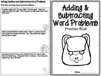 Addition & Subtraction Word Problems Practice Booklet #2