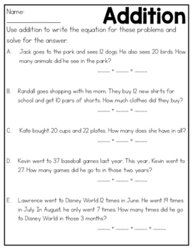 Addition & Subtraction Word Problems Practice Sheets & Quizzes