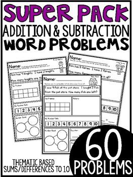 Addition & Subtraction Word Problems {Super Packs 1-3} BUNDLED