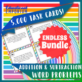 Addition & Subtraction Word Problems Task Cards ENDLESS Bundle