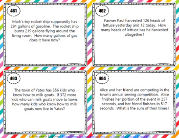 Addition & Subtraction Word Problems Task Cards (within 1,000)