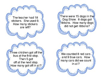 Addition & Subtraction Word Problems--Whole Group Activity and Worksheets