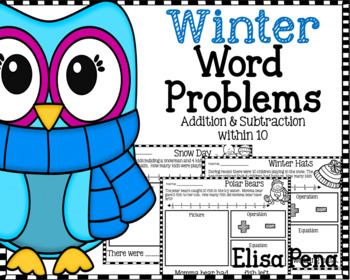 Addition & Subtraction Word Problems Winter Themed
