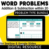 Addition & Subtraction Word Problems by Problem Type   1st