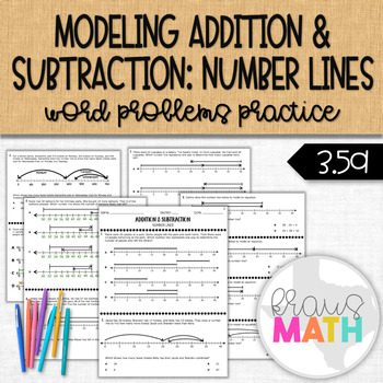 Addition & Subtraction Word Problems using NUMBER LINES Practice! (GRADE 3)