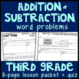 Addition & Subtraction Word Problems within 1,000, 8-Page Lesson Packet & Quiz