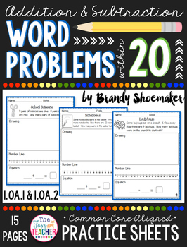 Addition & Subtraction Word Problems within 20 Practice Sheets