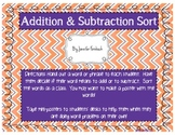 Addition & Subtraction Word Sort