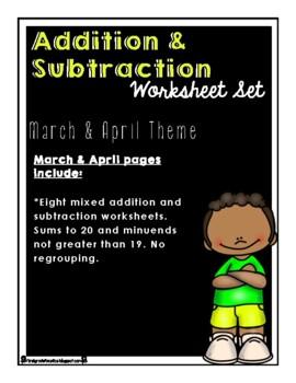 Addition & Subtraction Worksheet Set (Mar. & Apr. Theme)