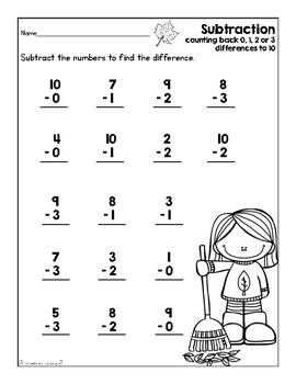 Addition & Subtraction Worksheet Set (Sept. & Oct. Theme)