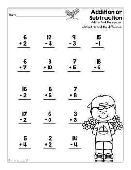 Addition & Subtraction Worksheet (SpringTheme)