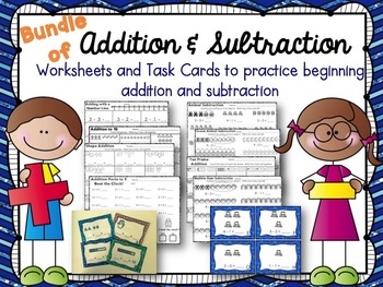 Addition & Subtraction Worksheets and Task Cards