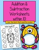 Addition & Subtraction Worksheets within 10 {Winter}